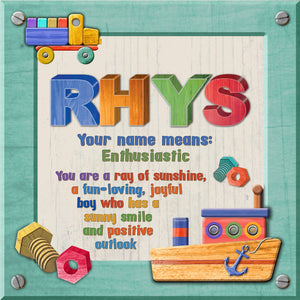 Tidybirds name meanings name definition plaque for kids RHYS Nickery Nook