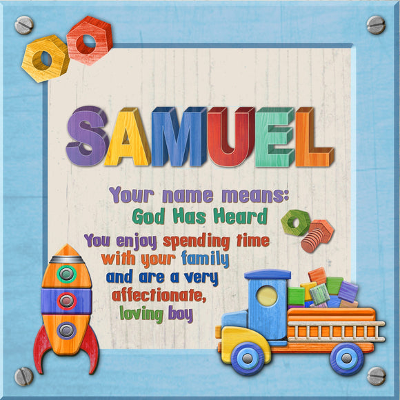 Tidybirds name meanings name definition plaque for kids SAMUEL Nickery Nook