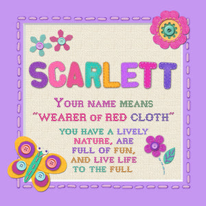 Tidybirds name meanings name definition plaque for kids SCARLETT Nickery Nook