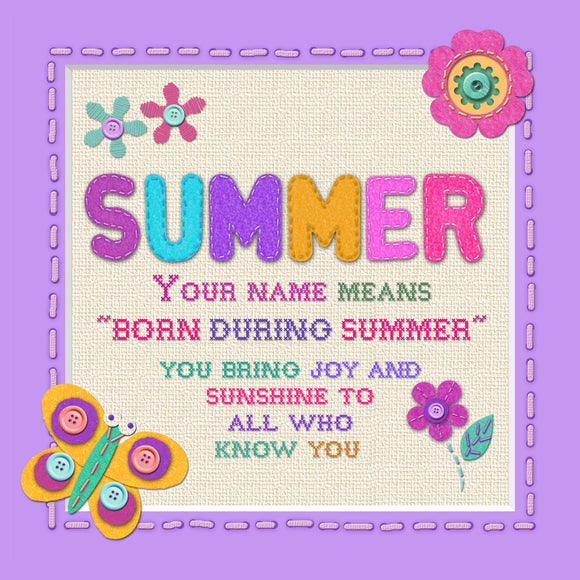 Tidybirds name meanings name definition plaque for kids SUMMER Nickery Nook