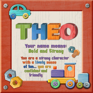 Tidybirds name meanings name definition plaque for kids THEO Nickery Nook