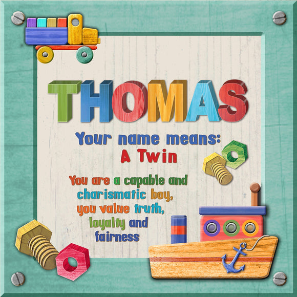 Tidybirds name meanings name definition plaque for kids THOMAS Nickery Nook