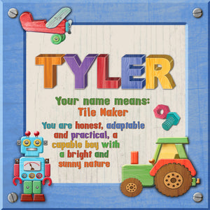 Tidybirds name meanings name definition plaque for kids TYLER Nickery Nook
