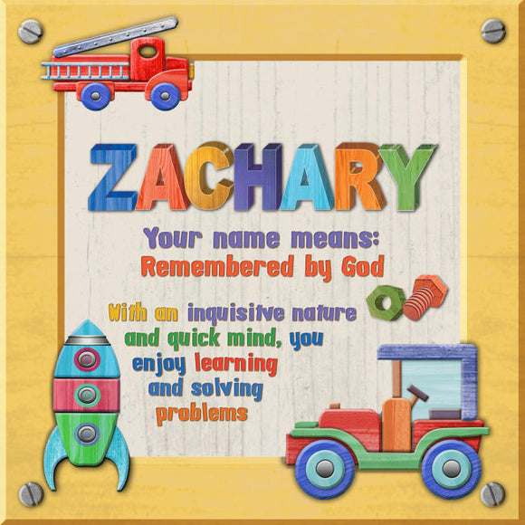 Tidybirds name meanings name definition plaque for kids ZACHARY Nickery Nook
