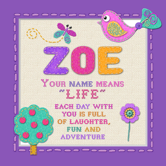 Tidybirds name meanings name definition plaque for kids ZOE Nickery Nook