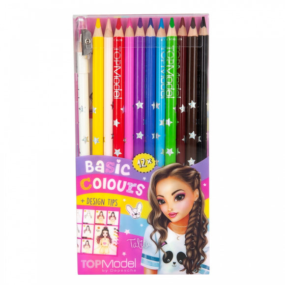 This pack of Top Model-branded colouring pencils contains 12 star-print pencils in white, yellow, peach, red, pink, purple, blue, light blue, green, brown, mahogany and black. The pencils also come with one sharpener cap to ensure they will be ready to go whenever inspiration strikes!