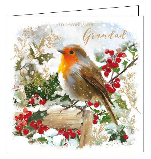 This lovely Christmas card for wonderful Grandad is decorated with a robin sat on a fence, surrounded by holy branches and snow. The text on the front of the card reads