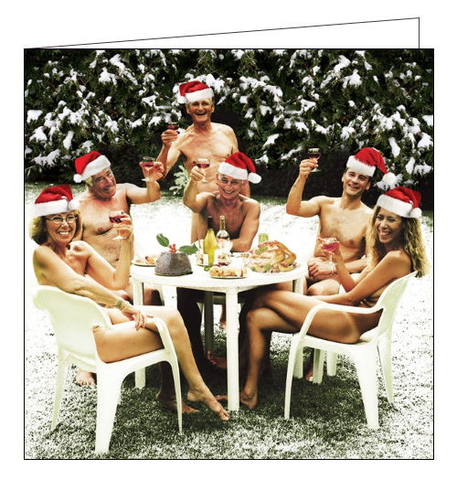 Oooh. It's a bit cold for that! This cheeky Christmas card features Christmas lunch outside on a garden table - but the guests are only wearing Santa hats!