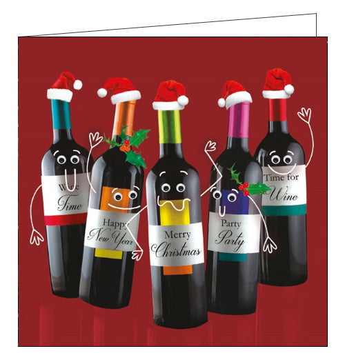 This quirky Christmas card features five bottles of wine - all with smiling faces and arms drawn on. Each wine bottle has a label that reads