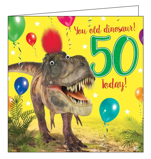 Tracks dinosaur 50th birthday card