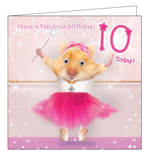 Tracks hamster ballerina 10th birthday card