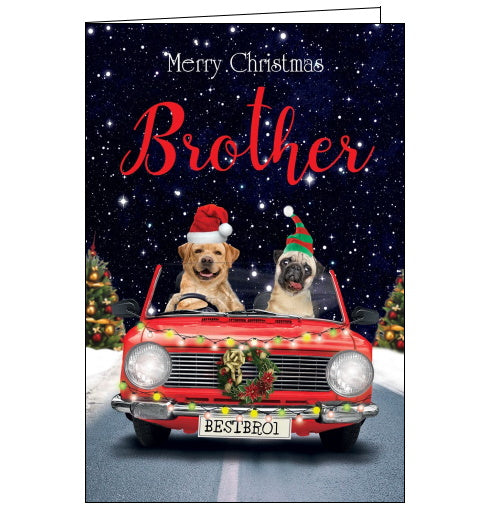 This quirky Christmas card for a special Brother features a (doctored) photograph of two dogs driving a red car, draped with a wreath and fairylights down a snowy road. Text on the front of the card reads