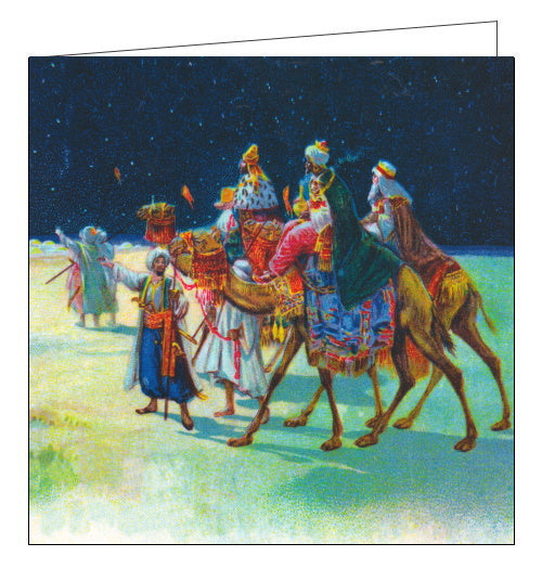 This Christmas card features an illustration of the three wise men on their camels being directed towards Bethlehem to worship the infant Jesus.
