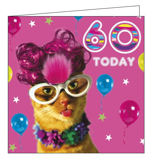 Tracks fabulous cat 60th birthday card