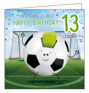 Tracks football 13th birthday card