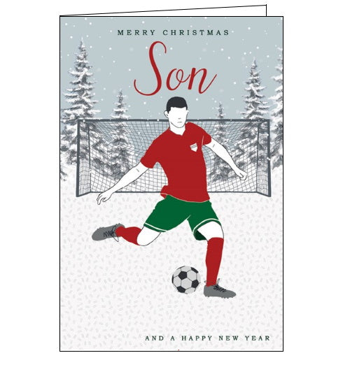 This quirky Christmas card for a special Son is decorated with an image of a footballer playing on the field in the snow. The text on the front of the card reads