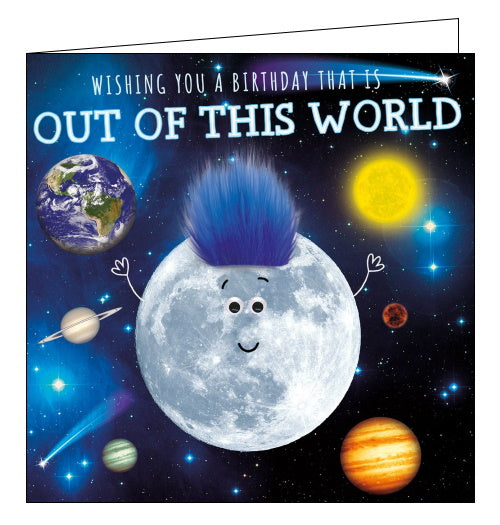 Tracks out of this world space birthday card