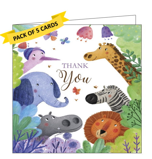 Tracks publishing jungle animals pack of thank you cards kids