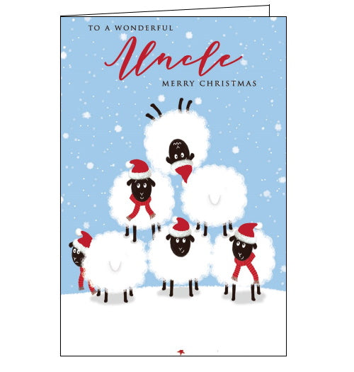 This quirky Christmas card for a special uncle is decorated with sheep standing on each others backs to create a pyramid. The sheep at the apex of the pyramid is upside down. The text on the front of the card reads