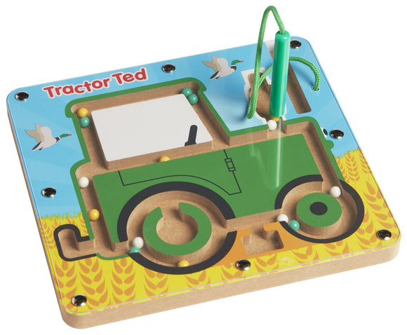 Perfect for keeping little ones entertained while improving their hand-eye coordination, this wood and acrylic maze challenges young minds to move coloured balls through a tractor shaped maze using the attached magnetic wand.