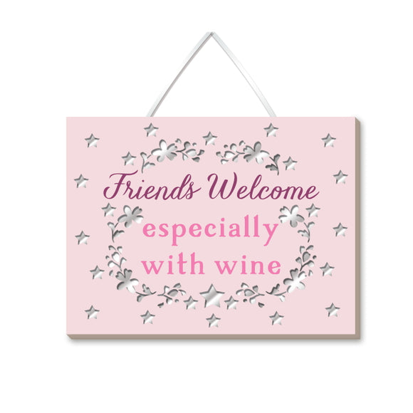 This lovely pink rectangular plaque is decorated with text that reads