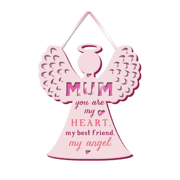 This gift plaque for a very special Mum is shaped like an angel and inscribed with text that reads