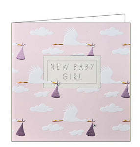 Wendy Jones Blackett stork pink baby girl card