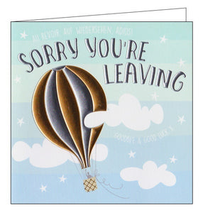 Wendy Jones Goldsmith hot air balloon sorry you're leaving card