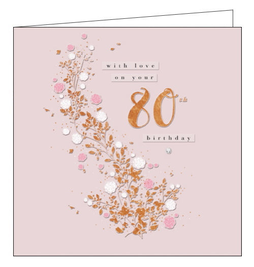 80th Birthday card with copper foil and a silver gem