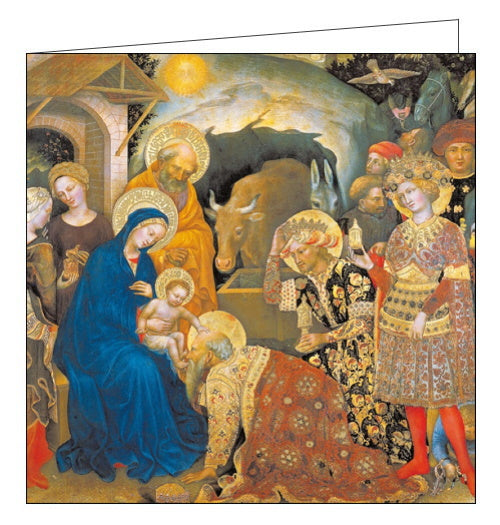 This Christmas card features a reproduction of detail from Adoration of the Magi by Gentile de Fabriano, showing one of the Wise Men kneeling before the baby Jesus, who rests a hand on the Magi's head. Detailing on the clothing, crowns and halos has been picked out in gold foil.