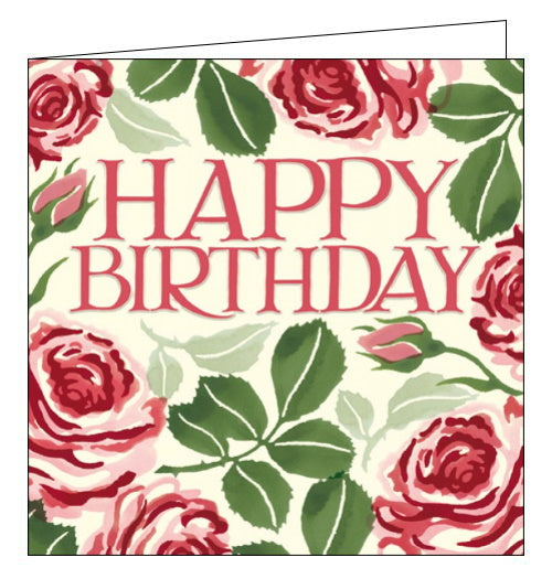 This elegant birthday card is decorated with Emma Bridgewater's iconic stamped red roses with green leaves. Embossed pink text nestled among the flowers reads