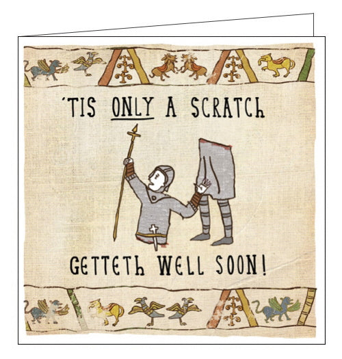 Woodmansterne Hysterical Heritage tis but a scratch get well soon card