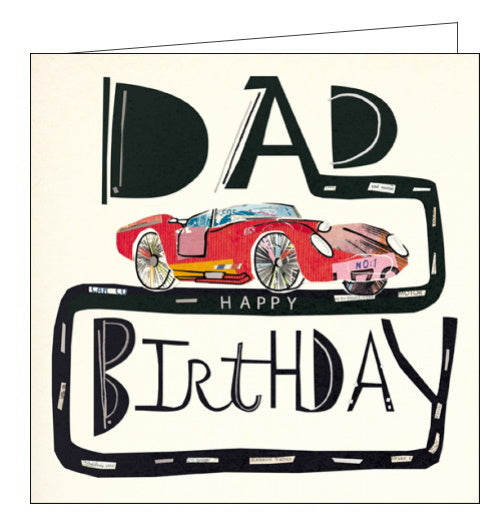 Woodmansterne Mambo racecar birthday card for dad
