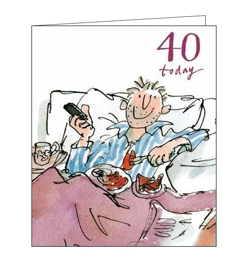 On this 40th Birthday card a man enjoys breakfast in bed. Text on the front of the card reads