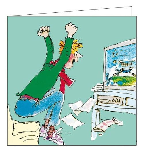 Woodmansterne Quentin Blake Watching Footie Happy Birthday card Nickery Nook