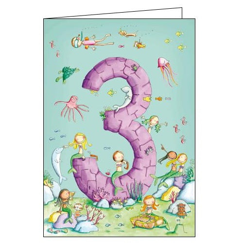 Woodmansterne 3 today under the sea mermaids 3rd Birthday card Nickery Nook