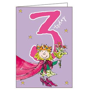 Woodmansterne 3rd birthday card princess quentin blake