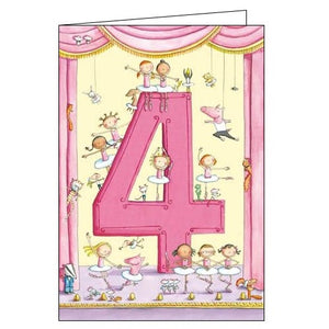 Woodmansterne 4th Birthday 4 today ballerinas Happy Birthday card Nickery Nook