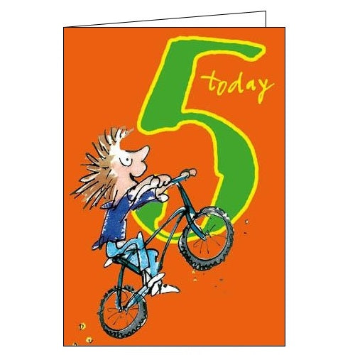 Woodmansterne 5th Birthday 5 today Quentin Blake peddling away cyling Happy Birthday card Nickery Nook