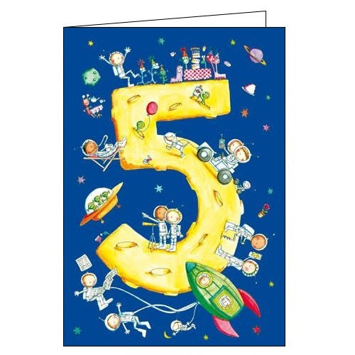 Woodmansterne 5th Birthday 5 today cosmic space astronauts Happy Birthday card Nickery Nook
