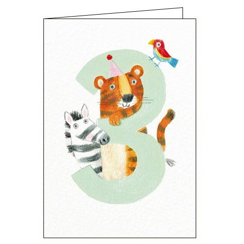 Woodmansterne Aardvark to Zebra 3rd Birthday card Nickery Nook