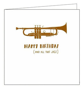 Woodmansterne Alpha all that jazz musical instruments Happy Birthday card Nickery Nook