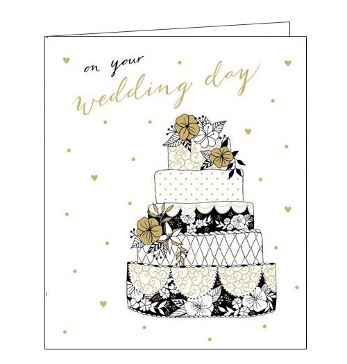 Woodmansterne Charlotte Mason Congratulations on your wedding day wedding cake card Nickery Nook front