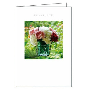Woodmansterne Framed flowers in vase thank you card Nickery Nook