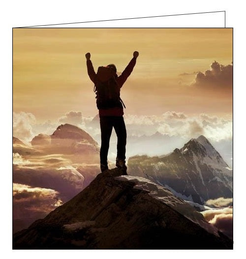 Woodmansterne Framed top of the world mountain climber birthday card Nickery Nook