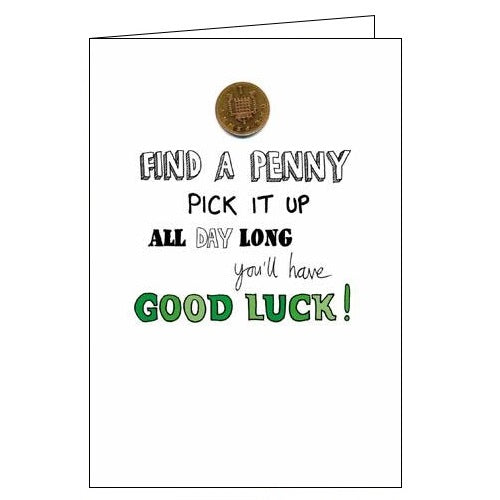 Woodmansterne Good Luck card see a penny pick it up Nickery Nook