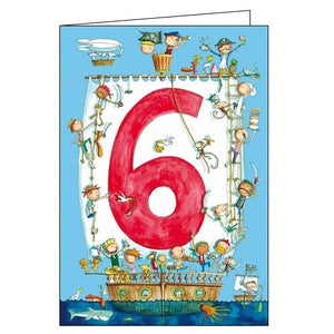 Woodmansterne Happy 6th Birthday 6 today pirates card Nickery Nook