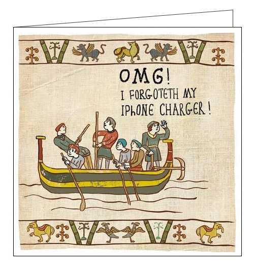 Woodmansterne Hysterical Heritage OMG! I've forgoteth my iphone charger. Blank humour card Nickery Nook