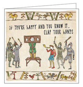 Woodmansterne Hysterical Heritage Stocks if you're happy and you know it Blank humour card Nickery Nook