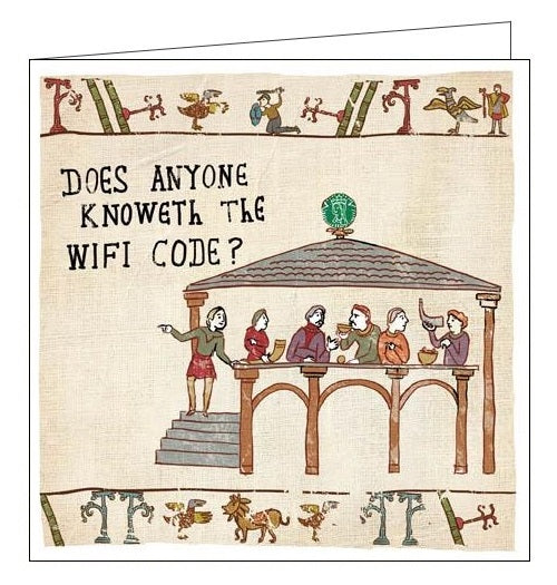 Woodmansterne Hysterical Heritage does anyone knoweth the wifi code Blank humour card Nickery Nook